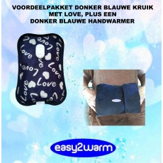 Advantage Package dark Blue Electric Hot Water Bag with Love and Hearts, together with our Grey/Blue Hand Warmer