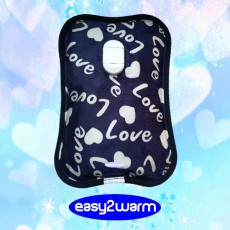 Rechargeable Electric Hot Water Bag - dark Blue with White Hearts and Love
