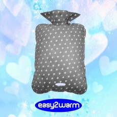 Traditional Jar with Soft Flannel Covering - Grey with White Hearts